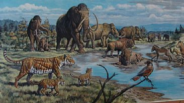 Ice Age Sino-Russian Fauna (detail) - Ice Age fauna, landscape by Mark Hallett
