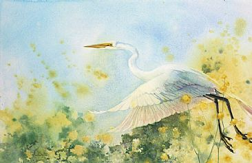 Escaping Yellow - Great Egret by Linda Sutton