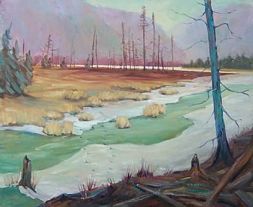 Wetland Crossing - landscape by Kathy Haycock