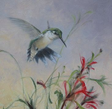 Summer Sprite - Female ruby-throated Hummingbird by Mary Erickson