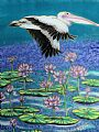 Pelican Over Lilies - pelican flying over water lilies by Kim Toft (2)